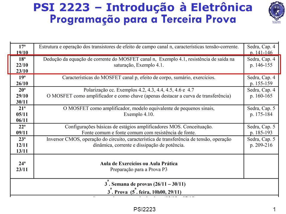 PSI222312 Equações de I D =f(V GS, V DS ) de 1 a Ordem Região Triodo: 0< V DS V GS -V t Região de Saturação: 0< V GS -V t V DS onde (Parâmetro de Transcondu- tância do processo [A/V 2 ]) NMOSFET Resumindo o NMOSFET Região de Corte: V GS V t ou V GS -V t 0 I D =0 Linear ( se V DS << V GS -V t ) Parabólica