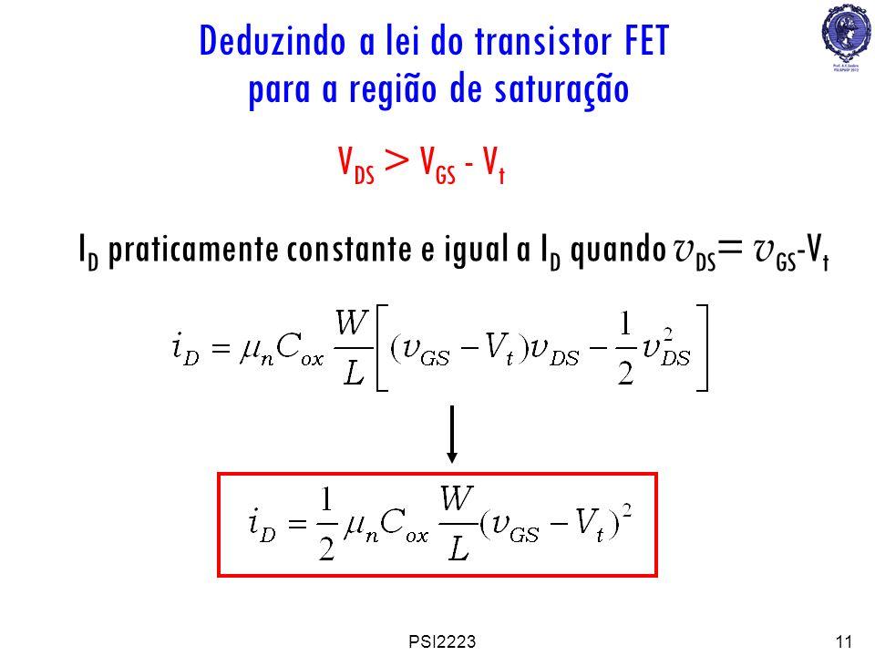 PSI222311 V DS > V GS - V t I D praticamente constante e igual a I D quando v DS = v GS -V t Deduzindo a lei do transistor FET para a região de satura