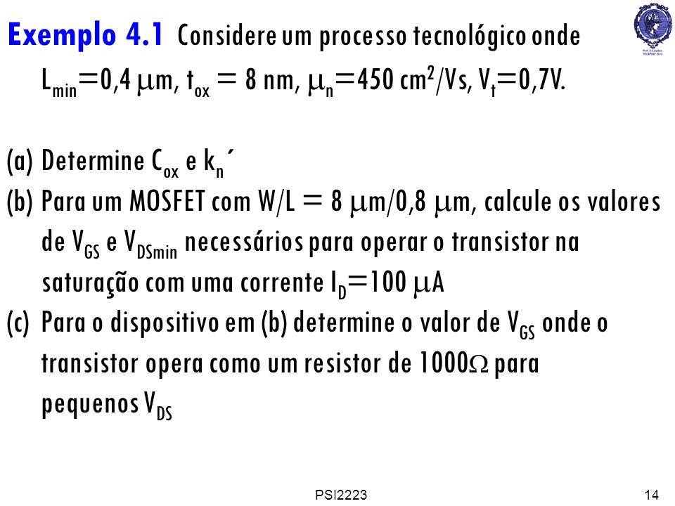 PSI222314 Exemplo 4.1 Considere um processo tecnológico onde L min =0,4 m, t ox = 8 nm, n =450 cm 2 /Vs, V t =0,7V. (a)Determine C ox e k n ´ (b)Para