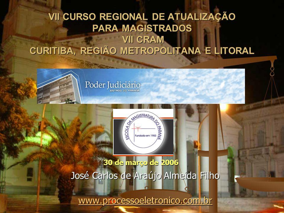 VII CURSO REGIONAL DE ATUALIZAÇÃO PARA MAGISTRADOS VII CRAM CURITIBA, REGIÃO METROPOLITANA E LITORAL José Carlos de Araújo Almeida Filho www.processoe