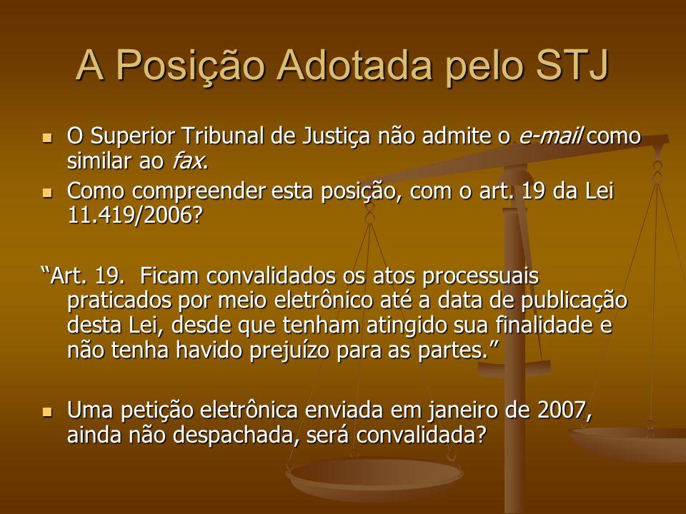A Posição Adotada pelo STJ O Superior Tribunal de Justiça não admite o e-mail como similar ao fax. O Superior Tribunal de Justiça não admite o e-mail