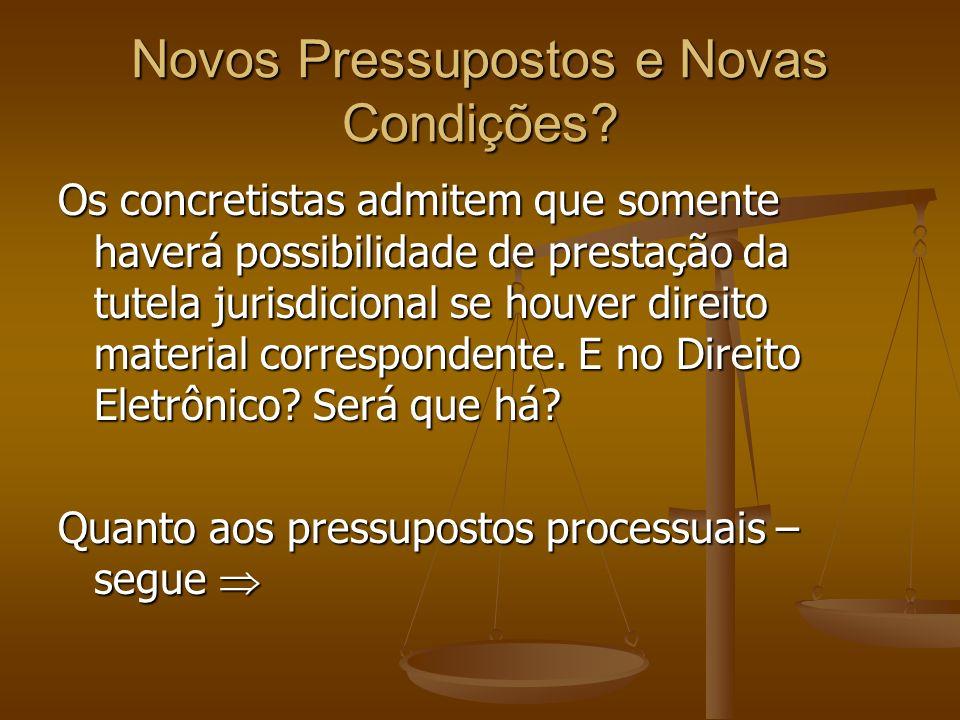 Pressupostos Processuais O pressuposto processual de existência não é modificado pelo processo eletrônico, mas requisitos são inseridos em todos.