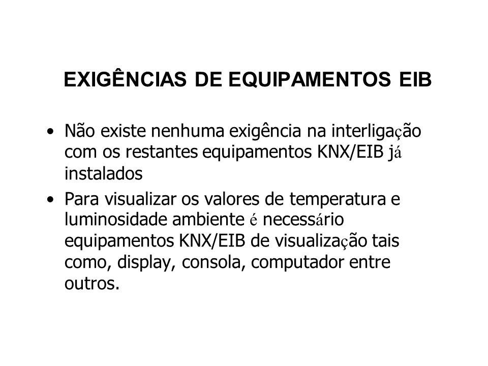 EXIGÊNCIAS DE EQUIPAMENTOS EIB Não existe nenhuma exigência na interliga ç ão com os restantes equipamentos KNX/EIB j á instalados Para visualizar os valores de temperatura e luminosidade ambiente é necess á rio equipamentos KNX/EIB de visualiza ç ão tais como, display, consola, computador entre outros.