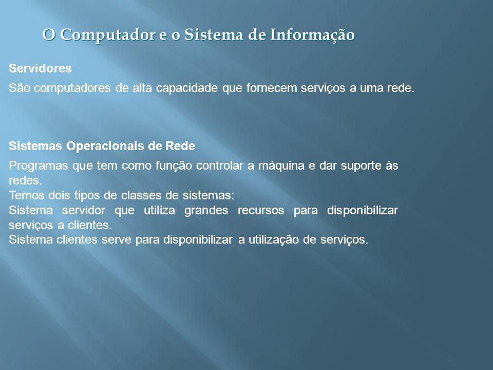 O Computador e o Sistema de Informação Programas que tem como função controlar a máquina e dar suporte às redes.