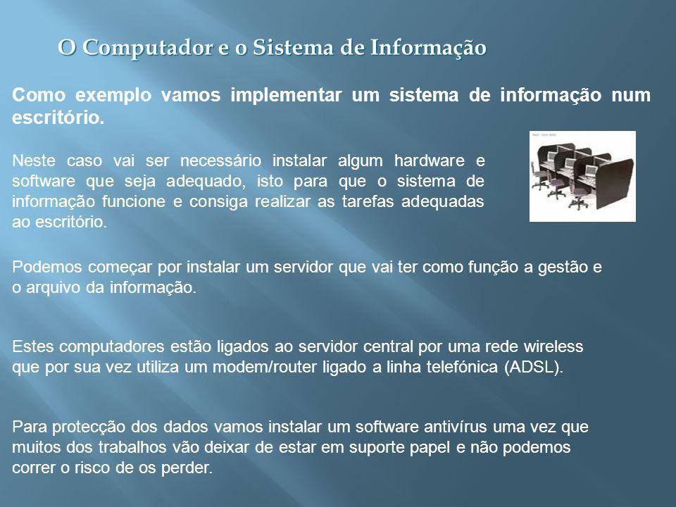 O Computador e o Sistema de Informação Como exemplo vamos implementar um sistema de informação num escritório.