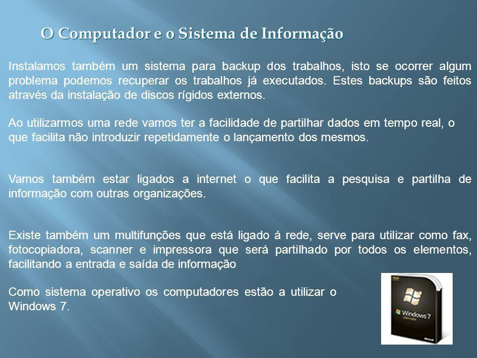 O Computador e o Sistema de Informação Instalamos também um sistema para backup dos trabalhos, isto se ocorrer algum problema podemos recuperar os trabalhos já executados.