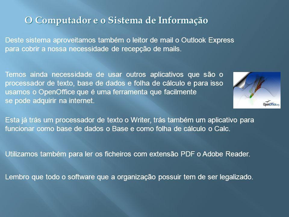 O Computador e o Sistema de Informação Deste sistema aproveitamos também o leitor de mail o Outlook Express para cobrir a nossa necessidade de recepção de mails.