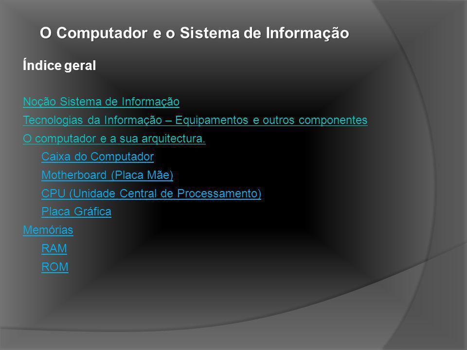 O Computador e o Sistema de Informação Periféricos de Entrada (Input) Teclado Webcam Digitalizador (Scanner) Rato (Mouse) Periféricos de Saída (Output) Impressora Monitor Colunas de Som Periféricos de Entrada e Saída (Input/Output) Placa de Som Modem Disco Rígido