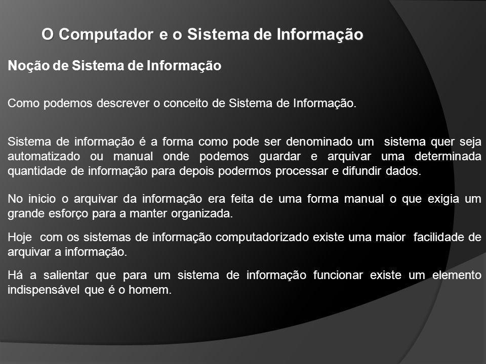 O Computador e o Sistema de Informação Há a salientar que para um sistema de informação funcionar existe um elemento indispensável que é o homem.