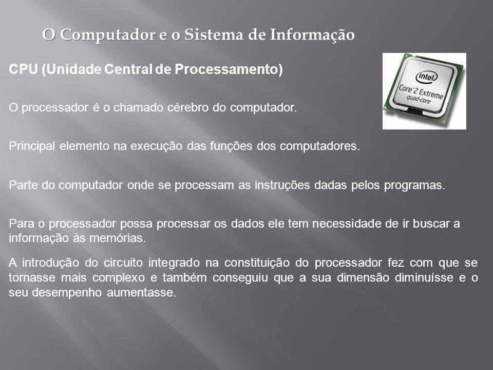 O Computador e o Sistema de Informação Principal elemento na execução das funções dos computadores.