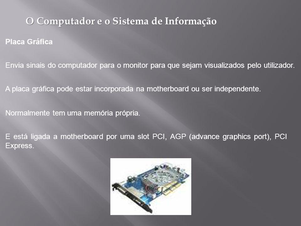 O Computador e o Sistema de Informação E está ligada a motherboard por uma slot PCI, AGP (advance graphics port), PCI Express.