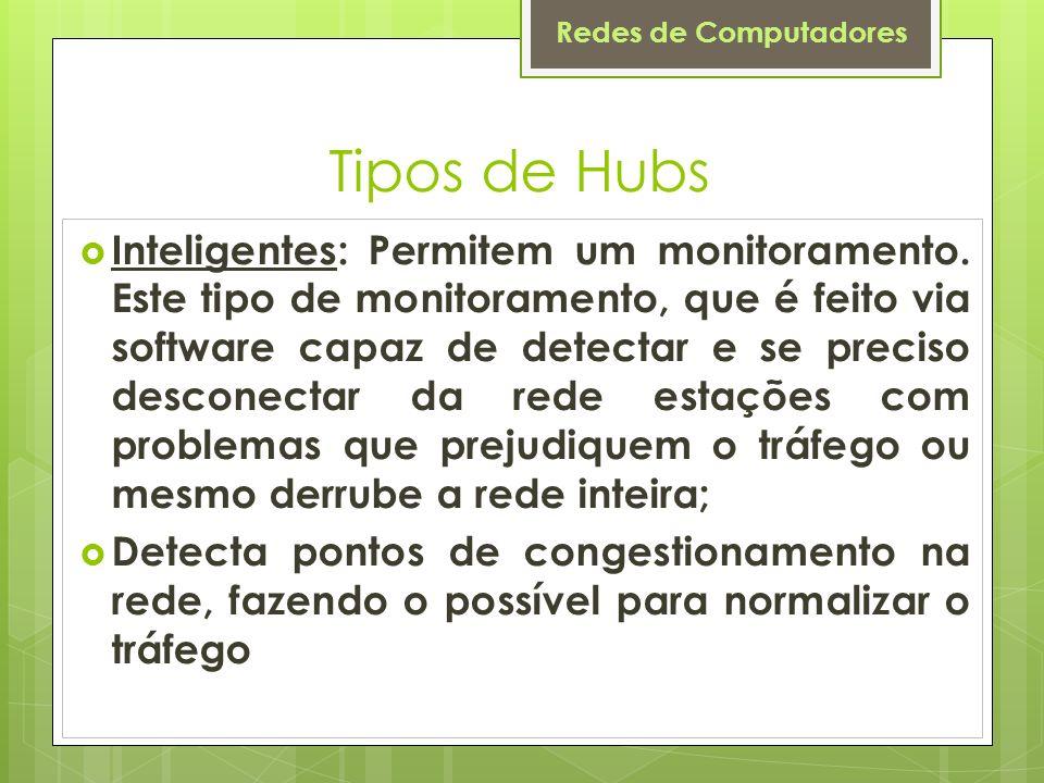 Redes de Computadores Tipos de Hubs Inteligentes: Permitem um monitoramento. Este tipo de monitoramento, que é feito via software capaz de detectar e