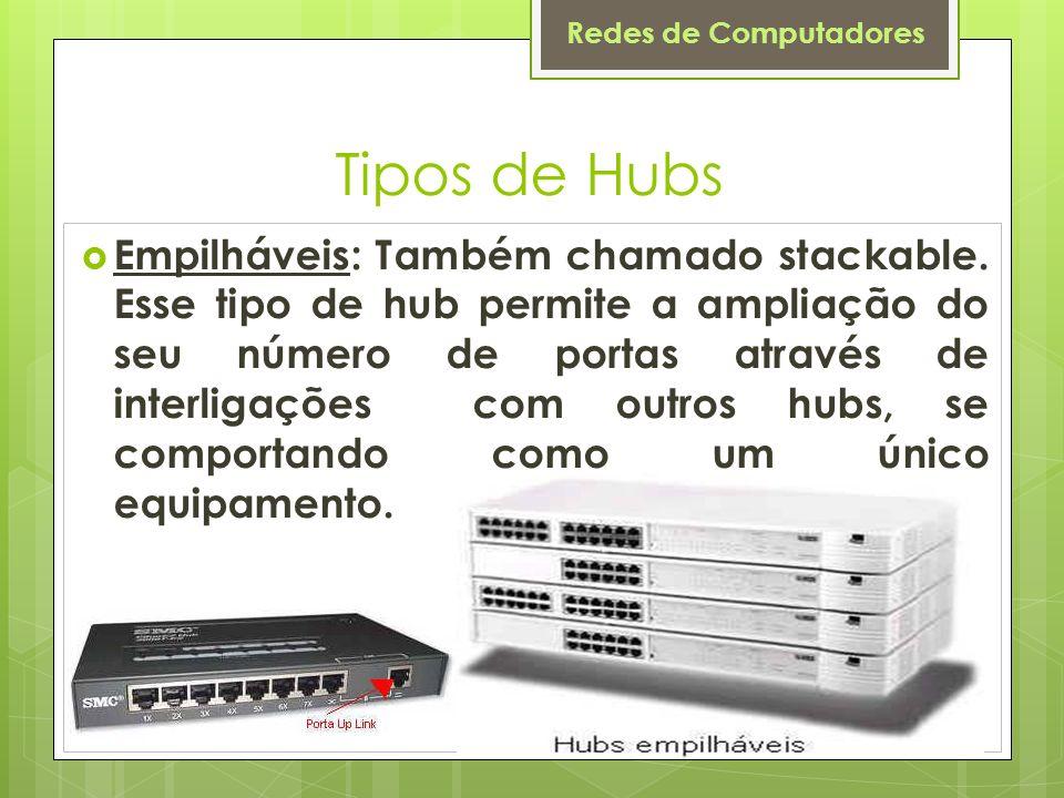 Redes de Computadores Tipos de Hubs Empilháveis: Também chamado stackable. Esse tipo de hub permite a ampliação do seu número de portas através de int