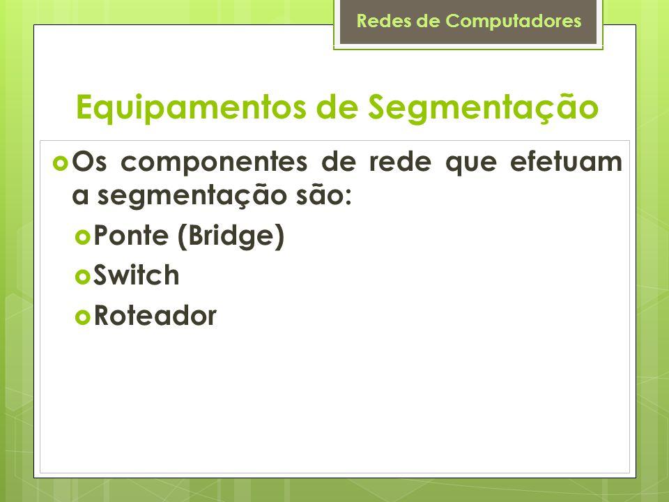 Redes de Computadores Os componentes de rede que efetuam a segmentação são: Ponte (Bridge) Switch Roteador Equipamentos de Segmentação