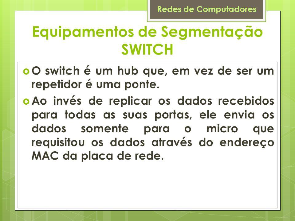 Redes de Computadores Equipamentos de Segmentação SWITCH O switch é um hub que, em vez de ser um repetidor é uma ponte. Ao invés de replicar os dados
