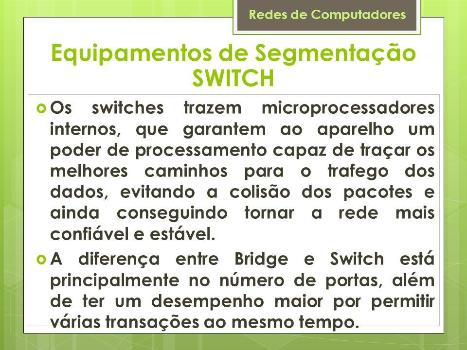 Redes de Computadores Os switches trazem microprocessadores internos, que garantem ao aparelho um poder de processamento capaz de traçar os melhores c