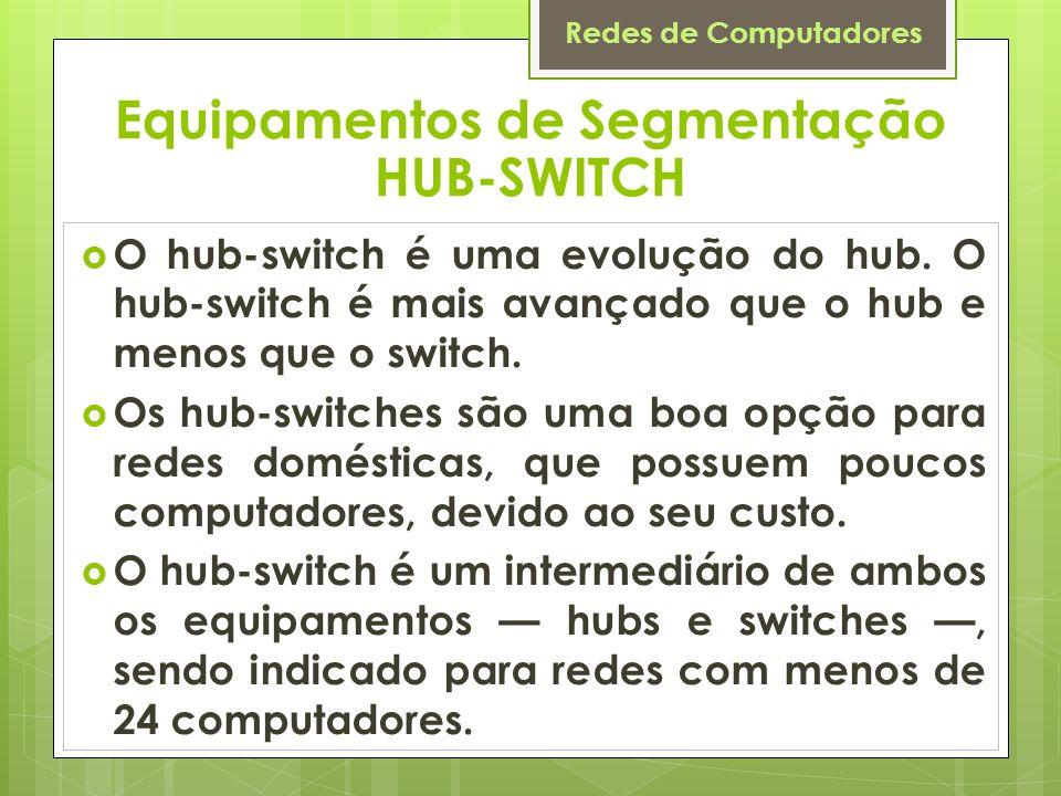 Redes de Computadores O hub-switch é uma evolução do hub. O hub-switch é mais avançado que o hub e menos que o switch. Os hub-switches são uma boa opç