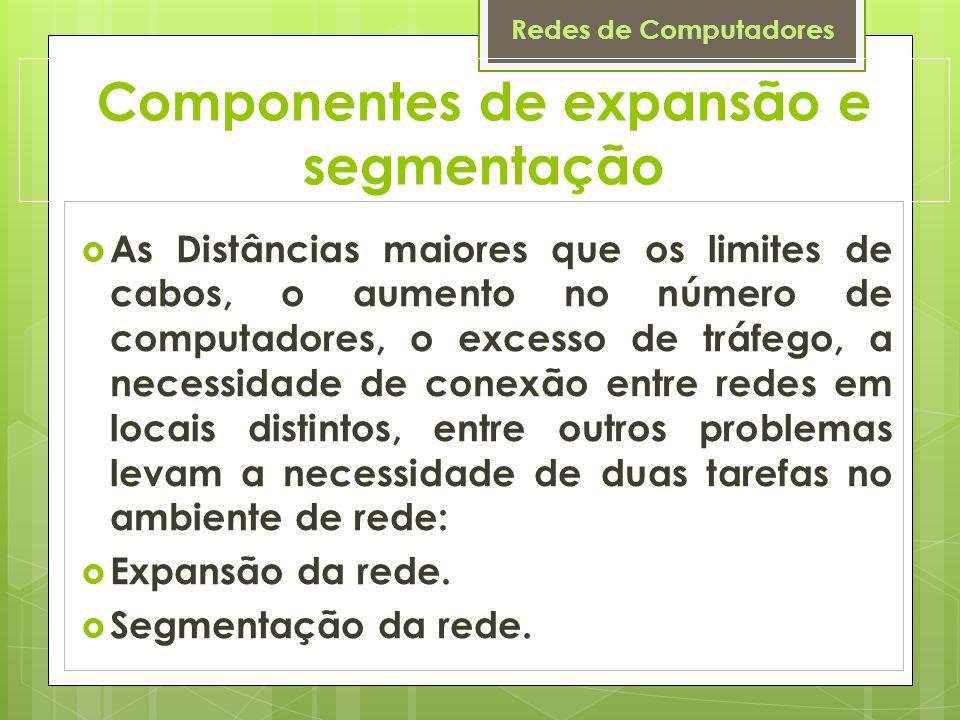 Redes de Computadores Componentes de expansão e segmentação As Distâncias maiores que os limites de cabos, o aumento no número de computadores, o exce