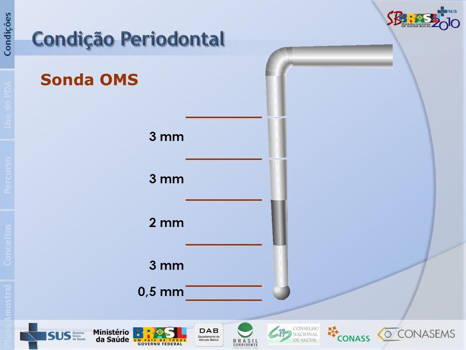 Plano Amostral Conceitos Percurso Uso do PDA Condições Sonda OMS 3 mm 2 mm 3 mm 0,5 mm