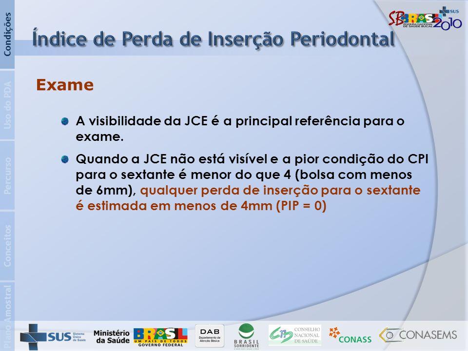 Plano Amostral Conceitos Percurso Uso do PDA Condições Exame A visibilidade da JCE é a principal referência para o exame.