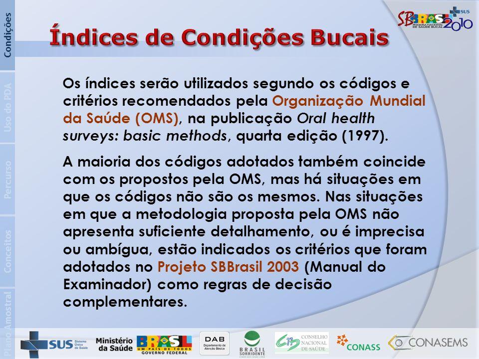 Plano Amostral Conceitos Percurso Uso do PDA Condições Os índices serão utilizados segundo os códigos e critérios recomendados pela Organização Mundial da Saúde (OMS), na publicação Oral health surveys: basic methods, quarta edição (1997).