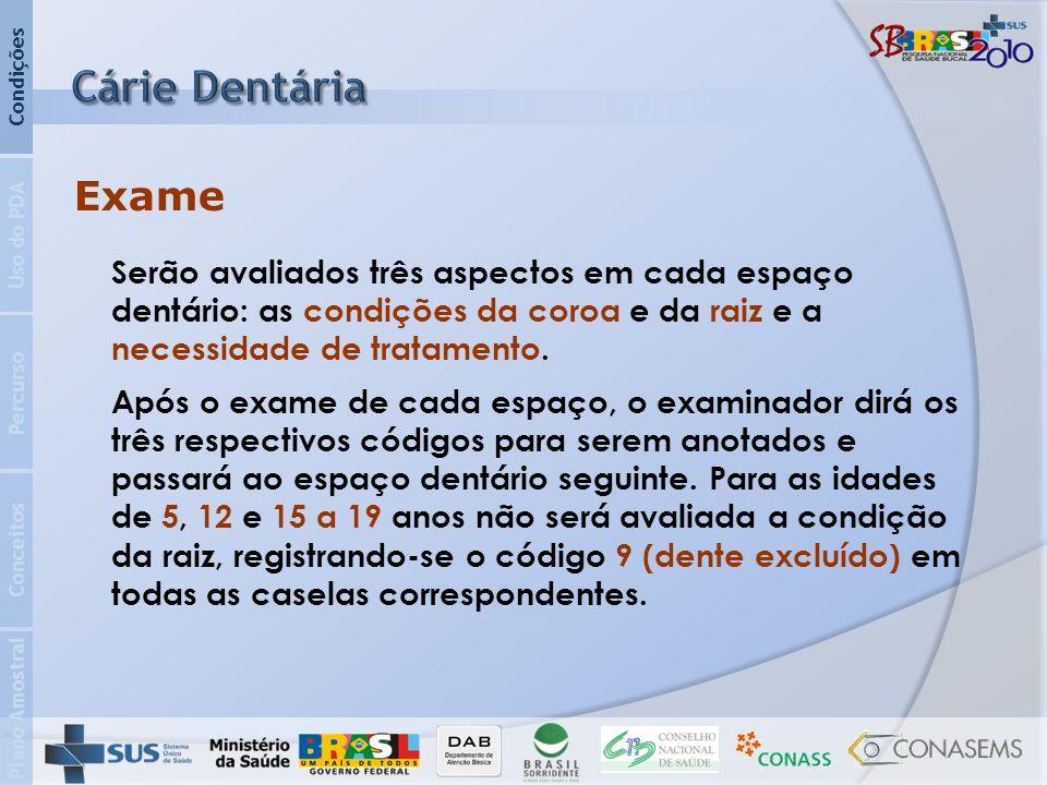 Plano Amostral Conceitos Percurso Uso do PDA Condições Serão avaliados três aspectos em cada espaço dentário: as condições da coroa e da raiz e a necessidade de tratamento.