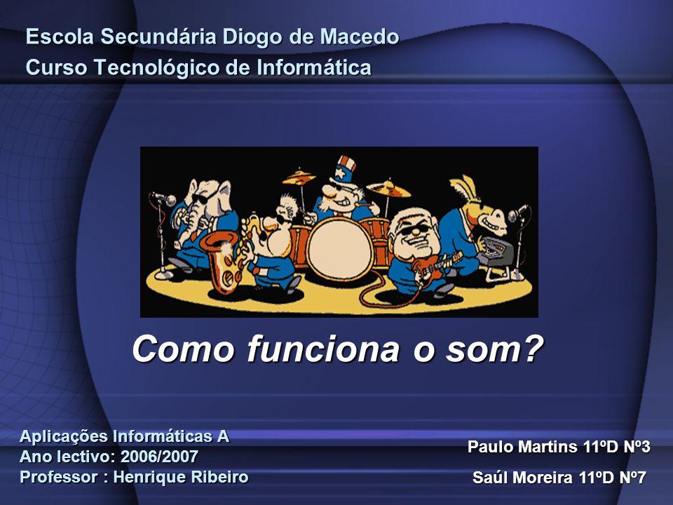 Escola Secundária Diogo de Macedo Curso Tecnológico de Informática Som Paulo Martins 11ºD Nº3 Saúl Moreira 11ºD Nº7 Como funciona o som? Aplicações In