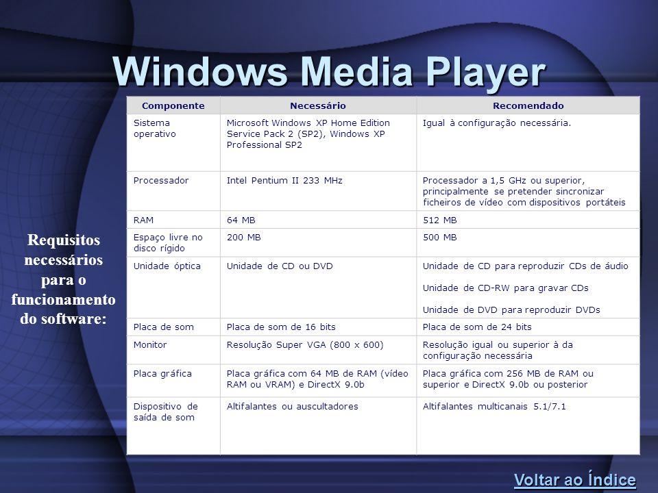 Windows Media Player Voltar ao Índice Voltar ao Índice ComponenteNecessárioRecomendado Sistema operativo Microsoft Windows XP Home Edition Service Pac