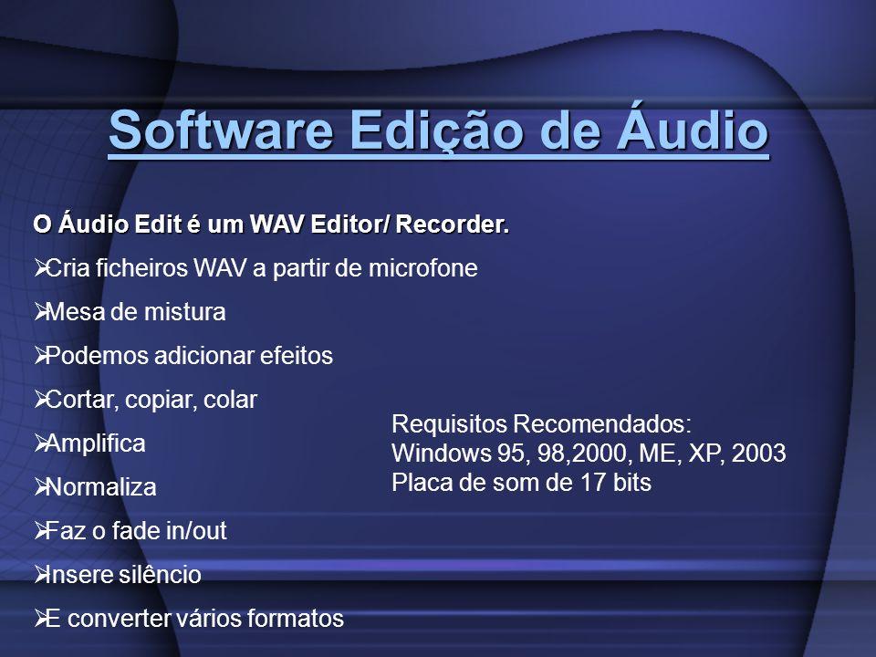 Software Edição de Áudio Software Edição de Áudio O Áudio Edit é um WAV Editor/ Recorder. Cria ficheiros WAV a partir de microfone Mesa de mistura Pod