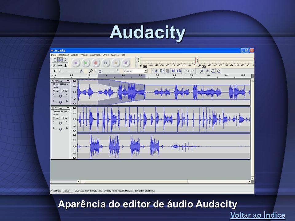 Audacity Aparência do editor de áudio Audacity Voltar ao Índice Voltar ao Índice