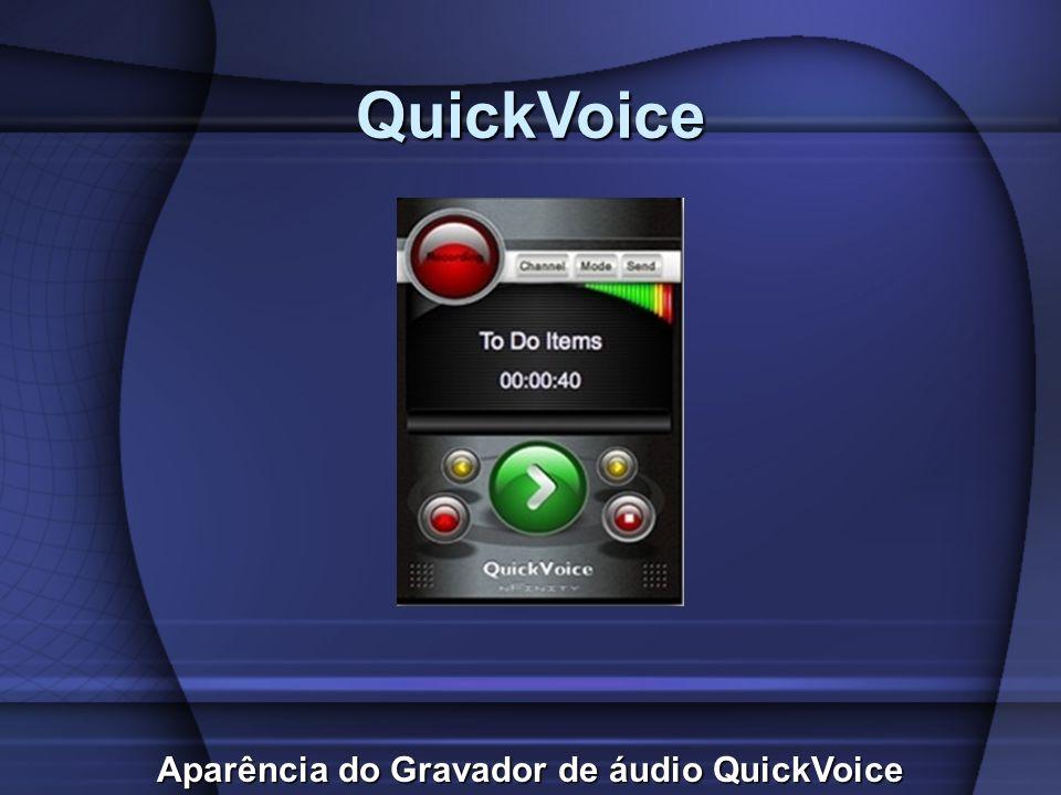 QuickVoice Aparência do Gravador de áudio QuickVoice
