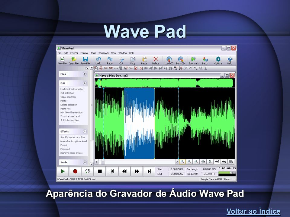 Aparência do Gravador de Áudio Wave Pad Wave Pad Voltar ao Índice Voltar ao Índice