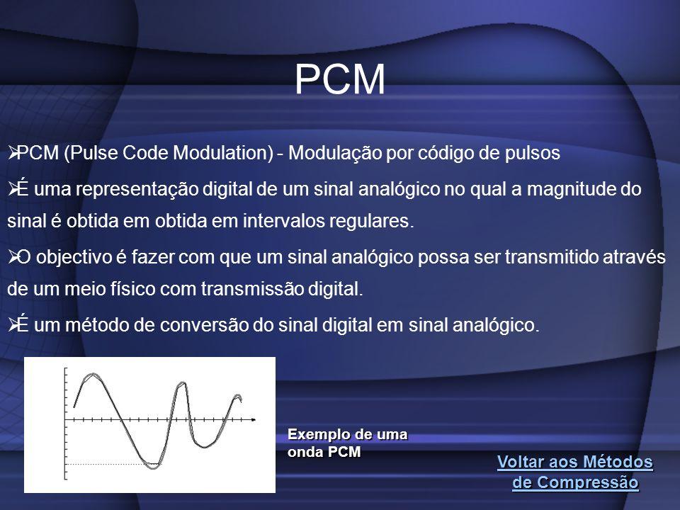 PCM PCM (Pulse Code Modulation) - Modulação por código de pulsos É uma representação digital de um sinal analógico no qual a magnitude do sinal é obti