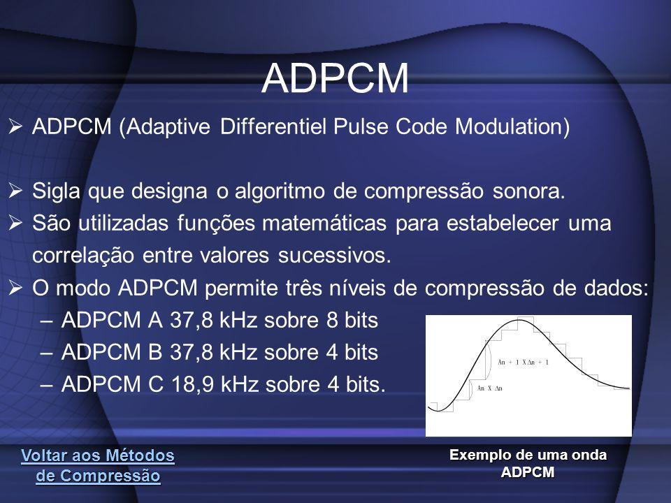 Voltar aos Métodos de Compressão Voltar aos Métodos de Compressão ADPCM ADPCM (Adaptive Differentiel Pulse Code Modulation) Sigla que designa o algori