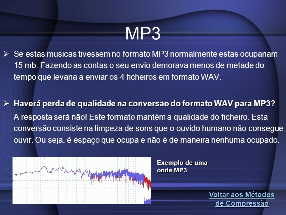 Se estas musicas tivessem no formato MP3 normalmente estas ocupariam 15 mb. Fazendo as contas o seu envio demorava menos de metade do tempo que levari