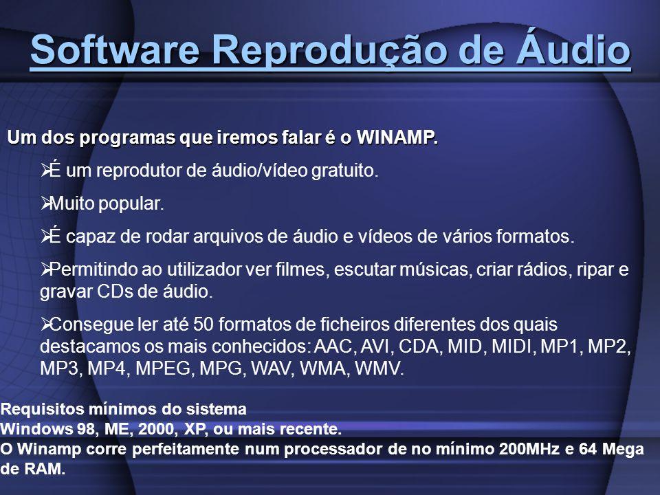 Software Reprodução de Áudio Software Reprodução de Áudio Um dos programas que iremos falar é o WINAMP. É um reprodutor de áudio/vídeo gratuito. Muito