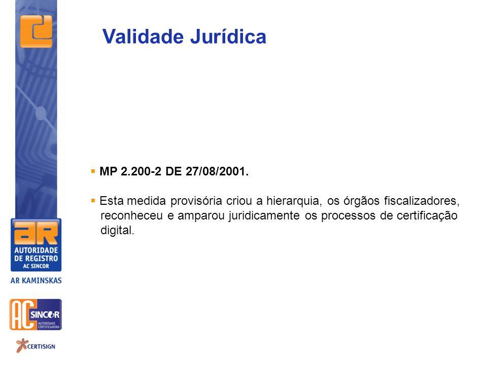MP 2.200-2 DE 27/08/2001. Esta medida provisória criou a hierarquia, os órgãos fiscalizadores, reconheceu e amparou juridicamente os processos de cert