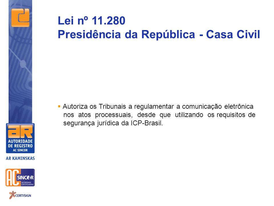 Autoriza os Tribunais a regulamentar a comunicação eletrônica nos atos processuais, desde que utilizando os requisitos de segurança jurídica da ICP-Br