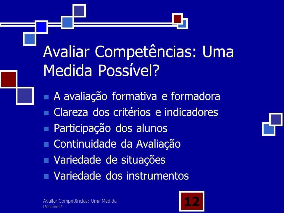Avaliar Competências: Uma Medida Possível? 12 Avaliar Competências: Uma Medida Possível? A avaliação formativa e formadora Clareza dos critérios e ind