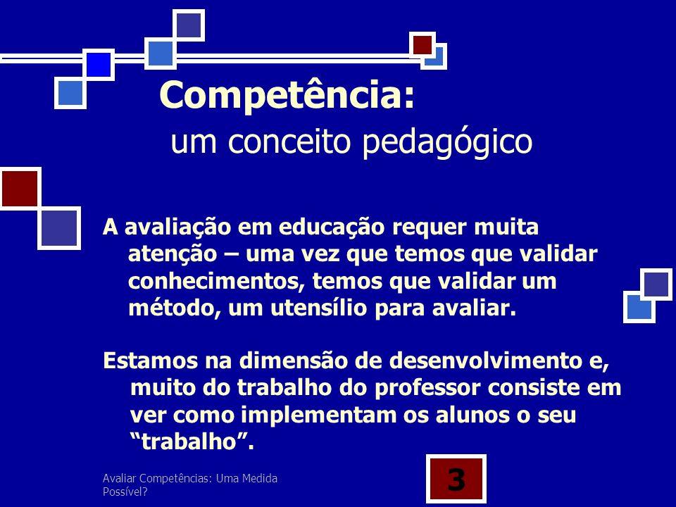 Avaliar Competências: Uma Medida Possível? 3 A avaliação em educação requer muita atenção – uma vez que temos que validar conhecimentos, temos que val