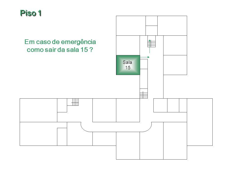 Em caso de emergência como sair da sala 15 ? Sala 15 Piso 1 Piso 1