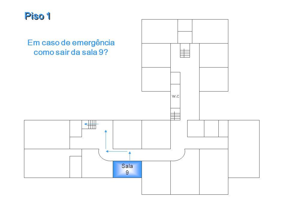 w.c Em caso de emergência como sair da sala 9? Piso 1 Piso 1 Sala 9