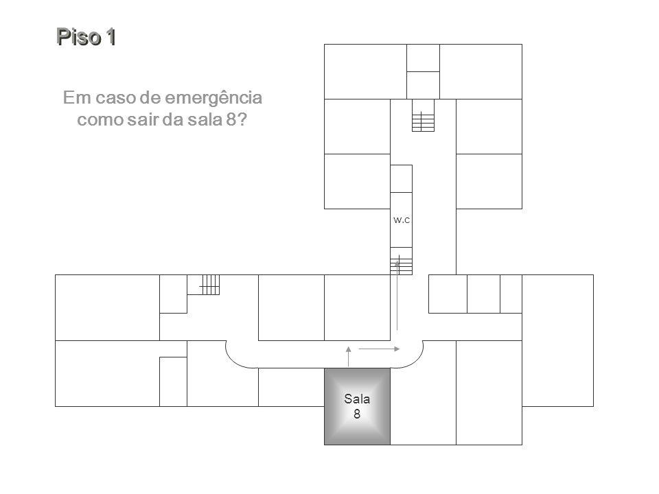 w.c Em caso de emergência como sair da sala 8? Piso 1 Piso 1 Sala 8