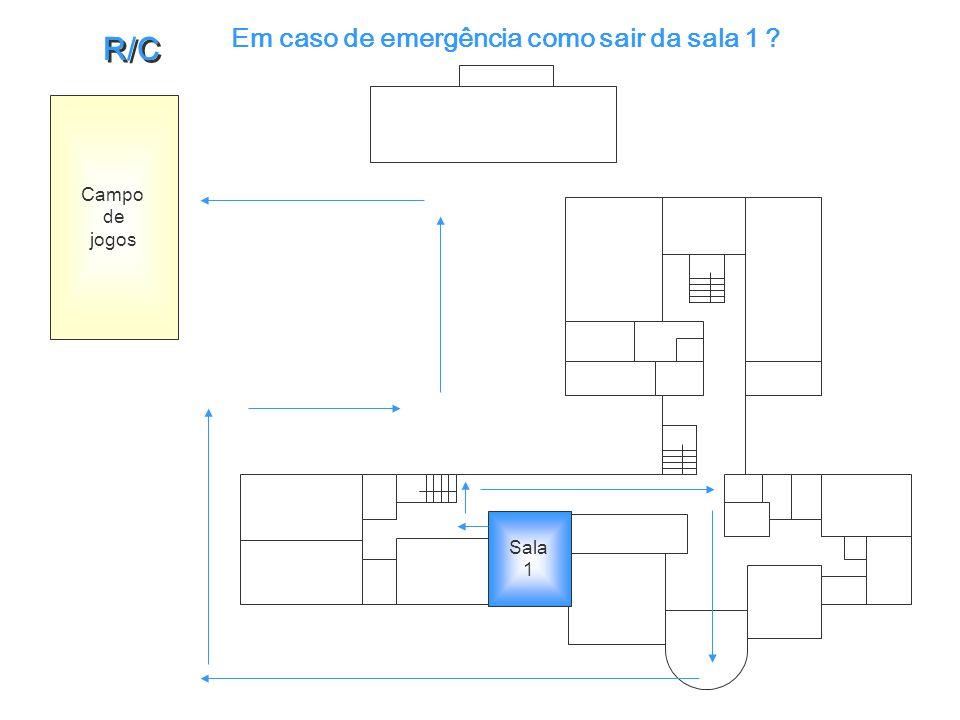 Em caso de emergência como sair da sala 1 ? Sala 1 Campo de jogos R/C R/C
