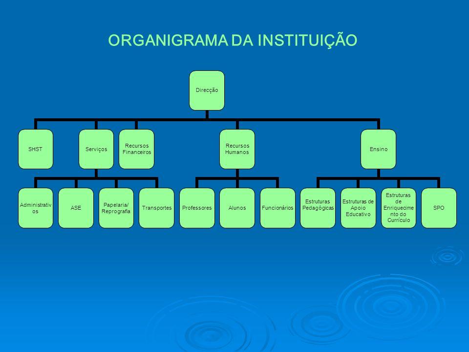 Direcção SHSTServiços AdministrativosASE Papelaria/ Reprografia Transportes Recursos Financeiros Recursos Humanos ProfessoresAlunosFuncionários Ensino