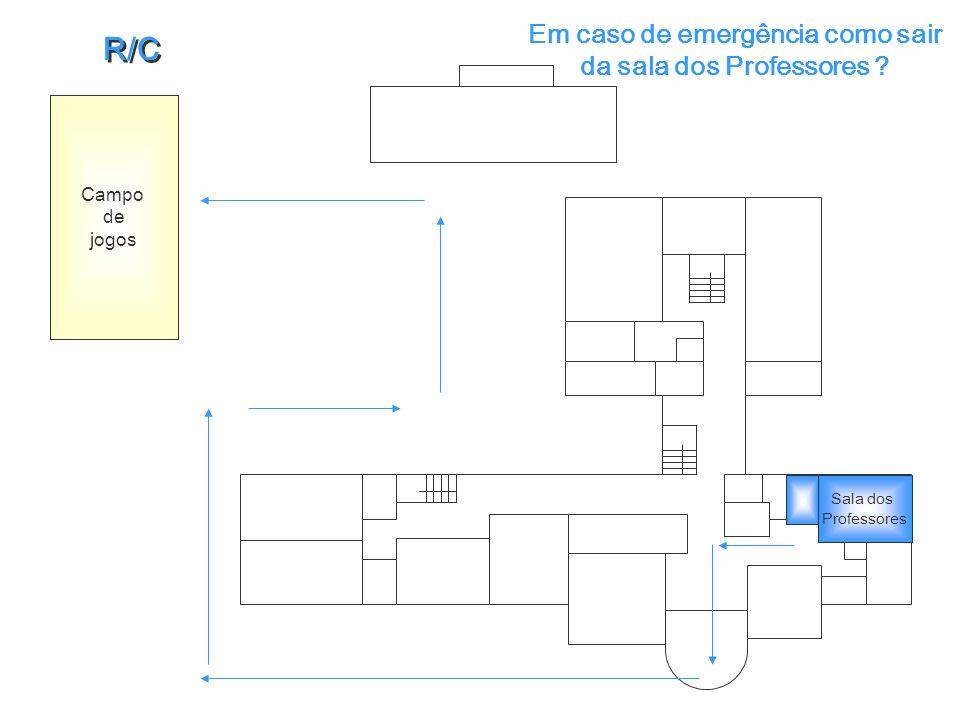 Em caso de emergência como sair da sala dos Professores ? Campo de jogos R/C R/C Sala dos Professores