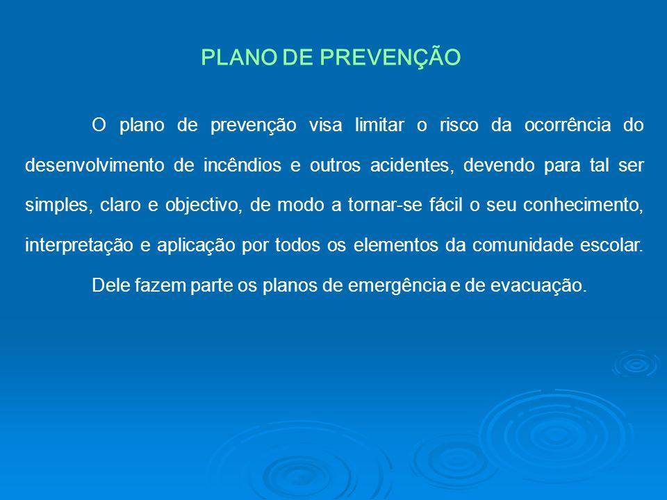 O plano de prevenção visa limitar o risco da ocorrência do desenvolvimento de incêndios e outros acidentes, devendo para tal ser simples, claro e obje