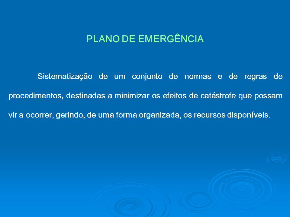 PLANO DE EMERGÊNCIA Sistematização de um conjunto de normas e de regras de procedimentos, destinadas a minimizar os efeitos de catástrofe que possam v