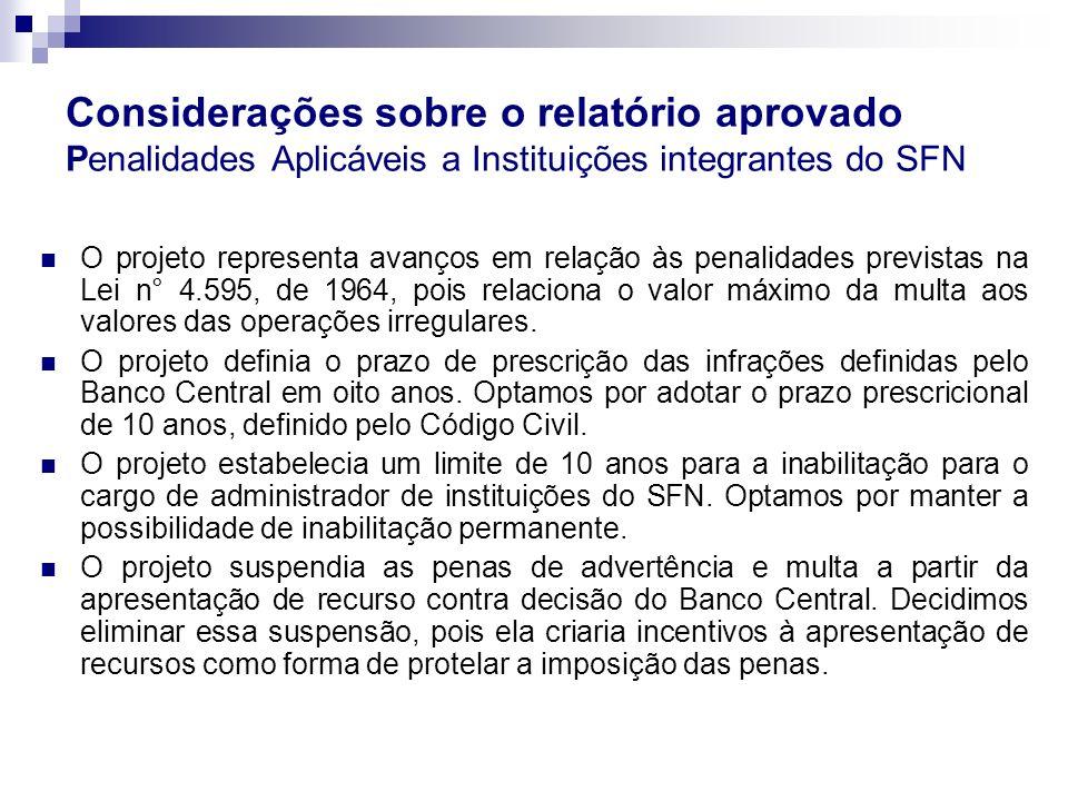 Considerações sobre o relatório aprovado Penalidades Aplicáveis a Instituições integrantes do SFN O projeto representa avanços em relação às penalidad