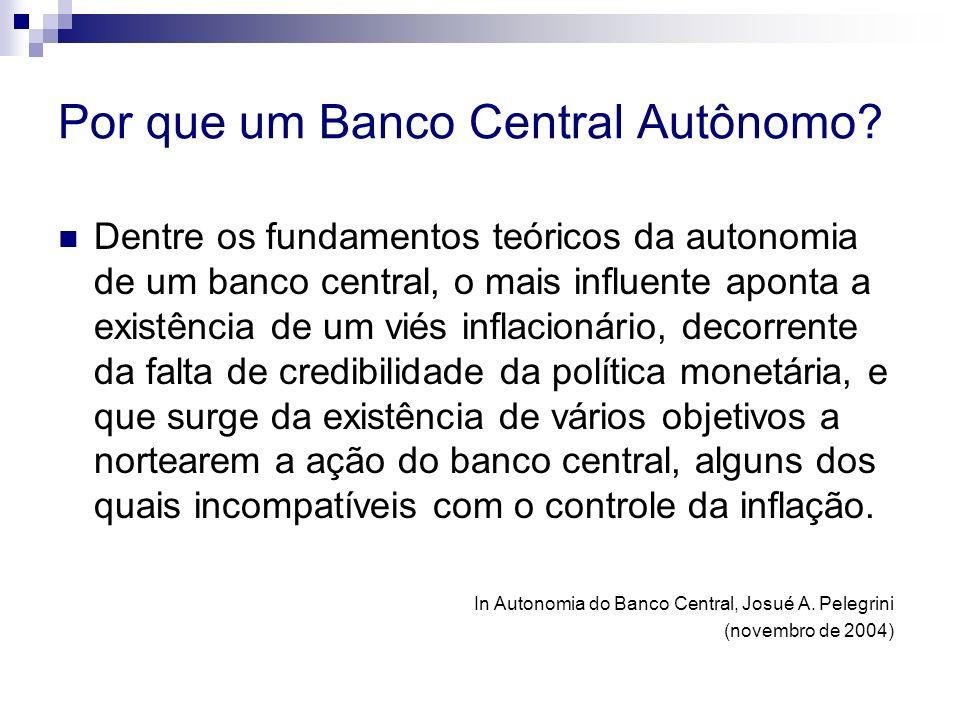 Por que um Banco Central Autônomo? Dentre os fundamentos teóricos da autonomia de um banco central, o mais influente aponta a existência de um viés in